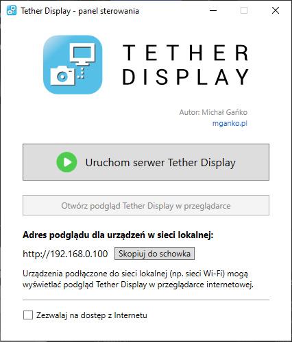panel administracyjny Tether Display